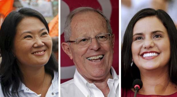 Combinação de fotos mostra os candidatos peruanos à presidência Keiko Fujimori, Pedro Pablo Kuczynski e Veronika Mendoza (Foto: REUTERS/Janine Costa/ Mariano Bazo)