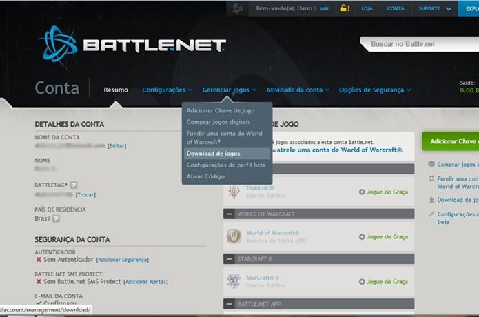 Clique na opção Gerenciar Jogos para acessar os jogos disponíveis para baixar (Foto: Reprodução / Dario Coutinho)