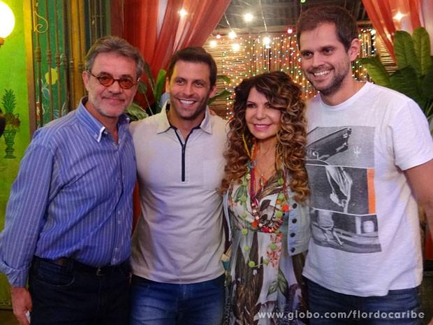 Jean Pierre Noher, Henri Castelli, Elba Ramalho e Leo Nogueira (Foto: Flor do Caribe / TV Globo)