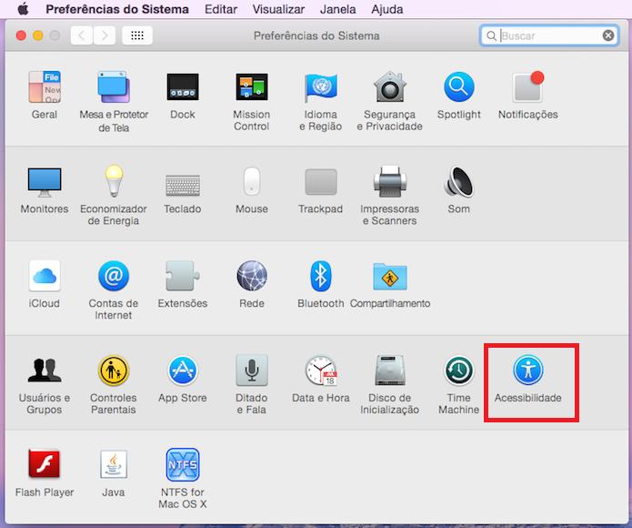 Acessando a opção Acessibilidade no OS X (Foto: Reprodução/Edivaldo Brito)