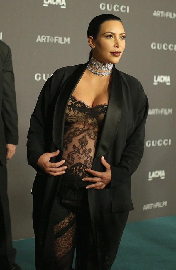 Kim Kardashian quando ainda estava grávida (Foto: Getty Images)