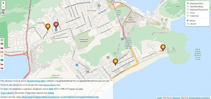 Mapa mostra onde usar Bitcoin (Foto: Thiago Barros/Reprodução)