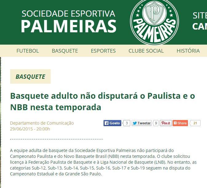Nota oficial do Palmeiras anuncia saída do NBB e do Paulistão (Foto: Reprodução)