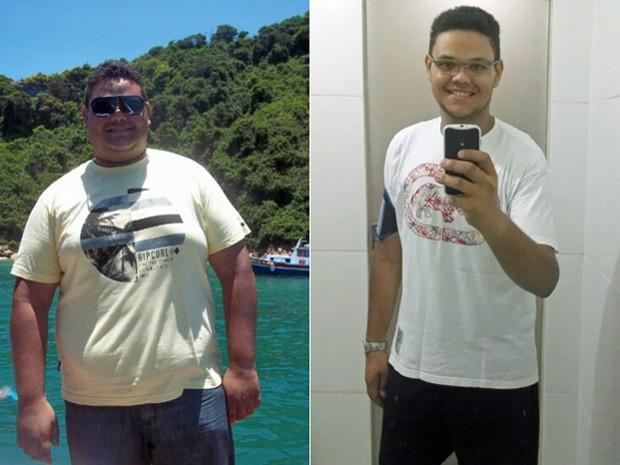 Com a ajuda de nutricionista e endocrinologista, ele mudou a alimentação e começou a caminhar; fotos mostram antes e depois (Foto: Arquivo pessoal/Thiago Lisboa Pereira)