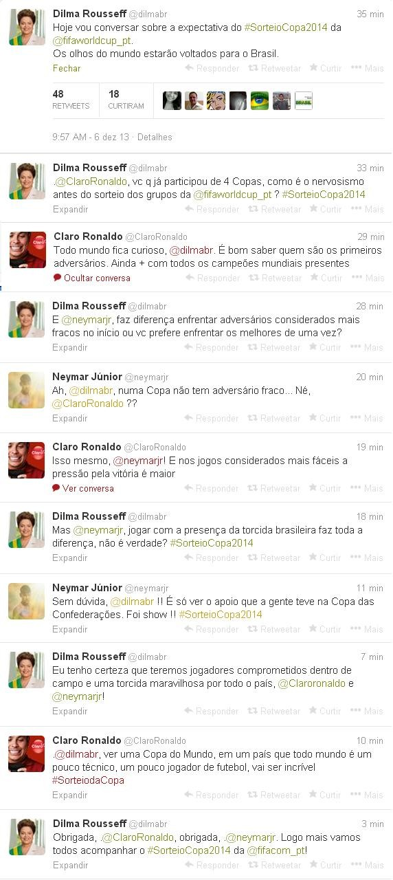 Conversa de Dilma com Neymar e Ronaldo (Foto: Reprodução Twitter)