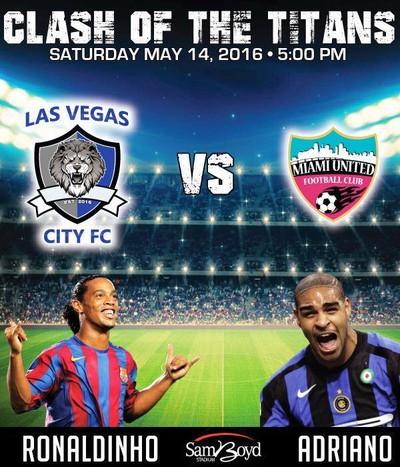 Las Vegas City x Miami United Ronaldinho Adriano (Foto: Reprodução/Facebook)