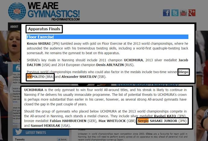 reprodução site oficial ginástica (Foto: Reprodução)