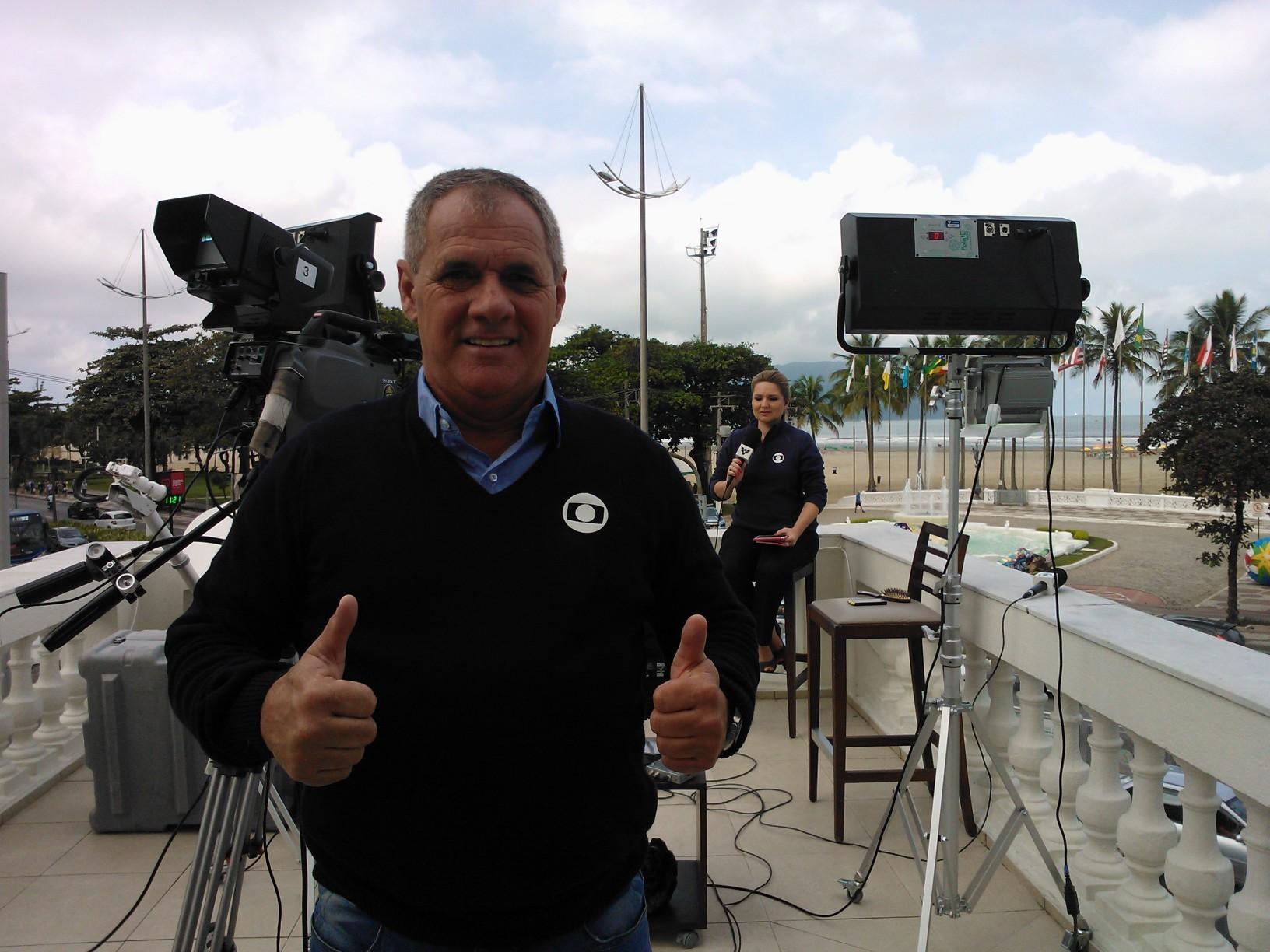 Rui de Rosis daqui a pouco no Tribuna Esporte (Foto: Priscila Martinez)