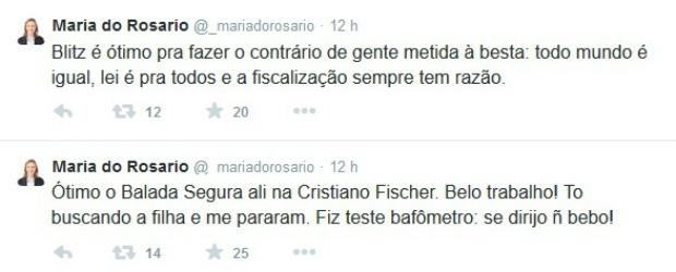 Maria do Rosário comentou a abordagem em blitz em sua conta no Twitter (Foto: Reprodução/Twitter)