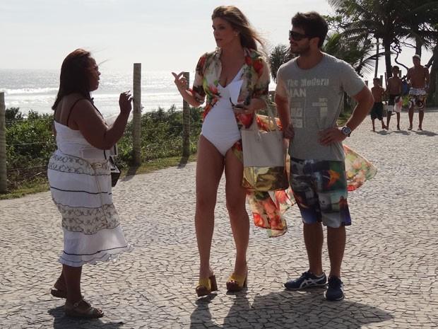 Cristiana Oliveira grava cenas ao lado de Duda Nagle (Foto: Salve Jorge/TV Globo)