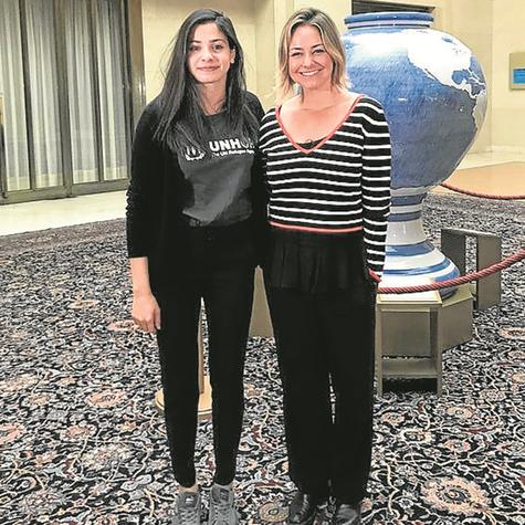 Bianca Rothier e Yusra Mardini no 'Esporte espetacular' (Foto: Divulgação)