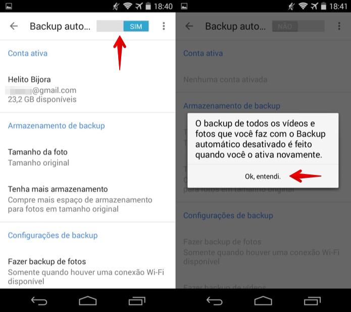 Desativando o backup automático de fotos do Android (Foto: Reprodução/Helito Bijora)