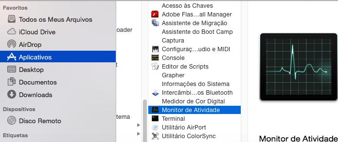 Abrindo o Monitor de Atividade no Finder (Foto: Reprodução/Edivaldo Brito)