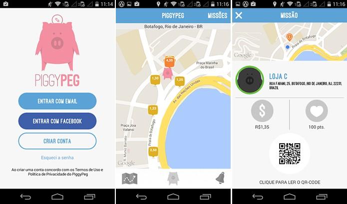Piggy Peg dá dinheiro ao usuário através de check-in em lojas parceiras (Foto: Divulgação/Play Store)