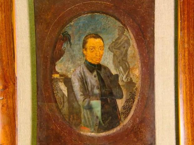 Pintura considerada 'retrato' de Aleijadinho, exposta no Museu Mineiro, em Belo Horizonte (Foto: Reprodução/TV Globo)