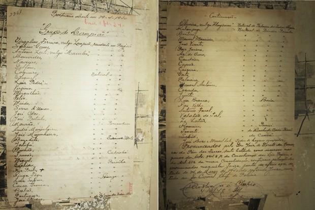Documento achado no arquivo do Itep, em Natal, é uma lauda escrita à fina caligrafia onde constam os nomes dos 55 criminosos mais temidos do sertão nordestino. Ao final, a informação de que os homens citados são enquadrados nos artigos 294 (Matar alguém)  (Foto: Andrea Tavares/G1)