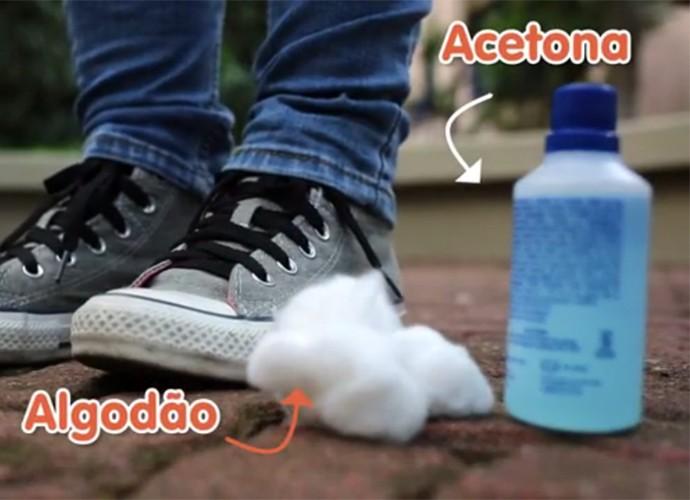 Acetona limpa tênis e o deixa como novo (Foto: Gshow)