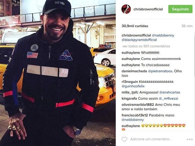 Chris Brown j postou foto de Naldo no Instagram e, na poca, o brasileiro foi  loucura (Foto: Reproduo/Instagram)