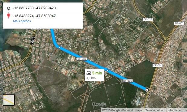 fotos jardim mangueiral: DF-035 que passará por restauração (Foto: Google Maps/Reprodução