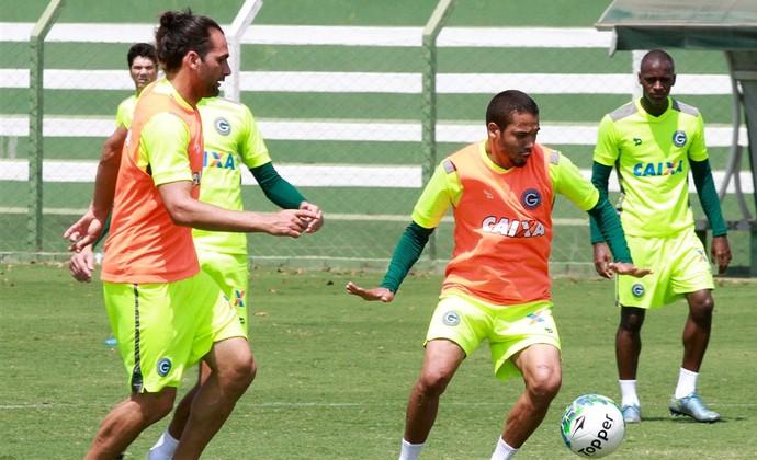 Léo Gamalho e Adriano, jogadores do Goiás (Foto: Rosiron Rodrigues/Goiás E.C.)