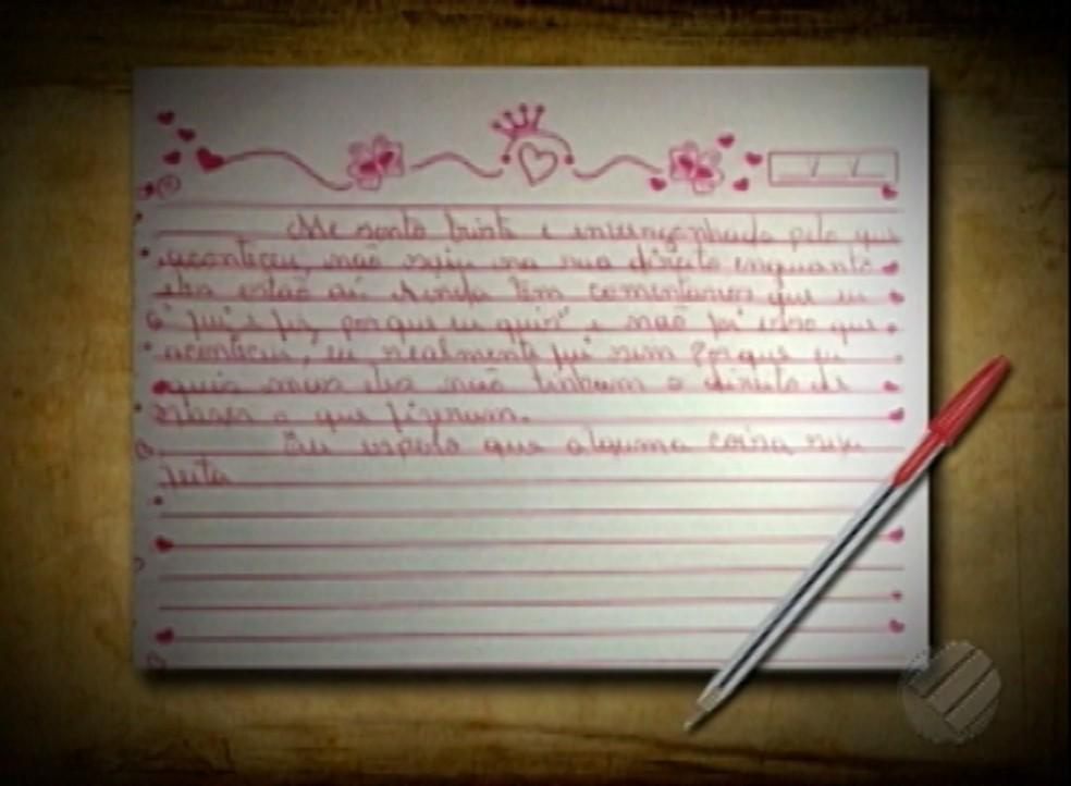 Carta divulgada pela adolescente de 16 anos vítima de um estupro coletivo no município de Ananindeua, na região metropolitana de Belém. (Foto: Reprodução/TV Liberal)
