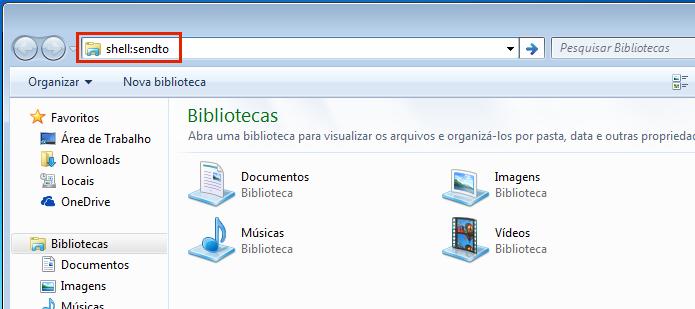 Acessando a pasta SendTo do Windows (Foto: Reprodução/Edivaldo Brito)