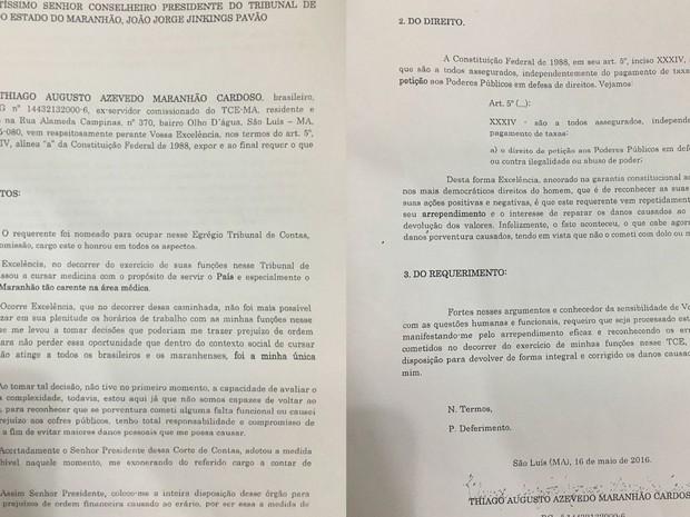 Thiago Maranhão afirma que devolverá dinheiro ao cofres públicos por meio de carta enviada ao presidente do TCE-MA (Foto: Divulgação/Blog do Neto Ferreira)