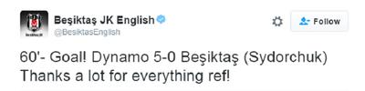 Twitter do Besiktas agradece ao árbitro ironicamente (Foto: Reprodução/Twitter)