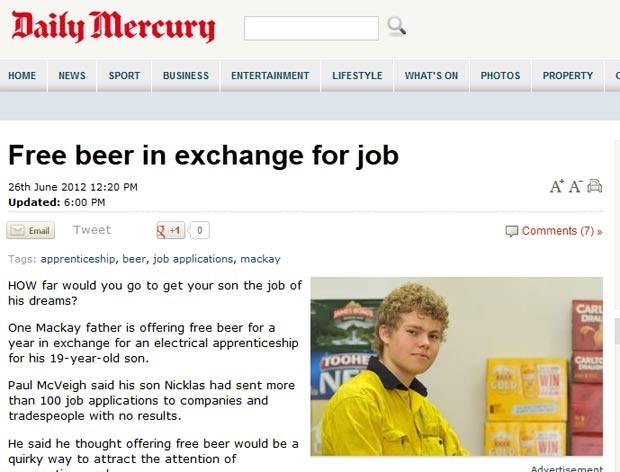 Paul McVeigh tenta conseguir emprego para o filho Nicklas (foto).  (Foto: Reprodução)