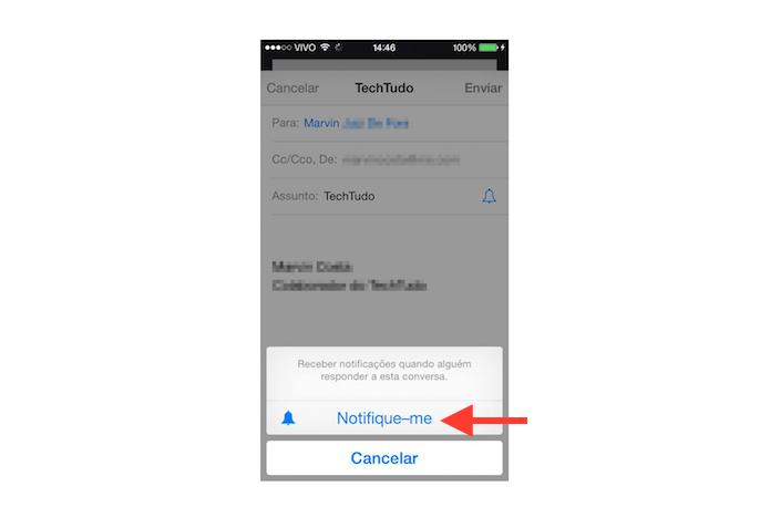 Ativando o recebimento de notificações de resposta no Mail do iOS 8 (Foto: Reprodução/Marvin Costa)
