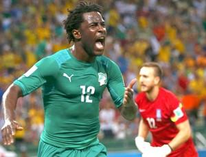 Bony comemora gol da Costa do Marfim contra a Grécia (Foto: Agência Reuters)