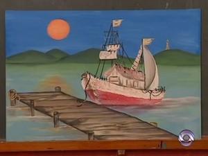 Colegas terminaram obra que garota pintava horas antes da tragédia (Foto: Reprodução/RBS TV)