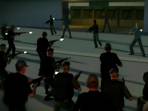 Cerca de 20 assaltantes foram surpreendidos por policiais durante a ação (Foto: Reprodução Jornal Hoje)