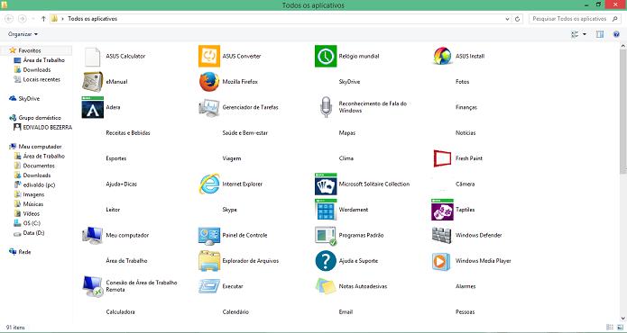 Pasta exibe atalhos para os aplicativos instalados no Windows 8 (Foto: Reprodução/Edivaldo Brito)