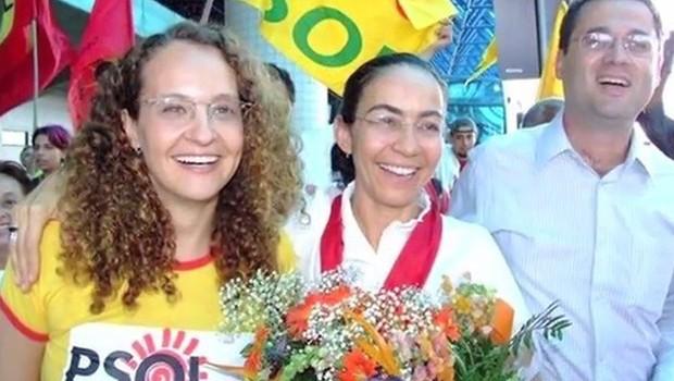 Luciana Genro, em 2006, ao lado da então candidata do PSOL à Presidência Heloísa Helena (Foto: Divulgação)