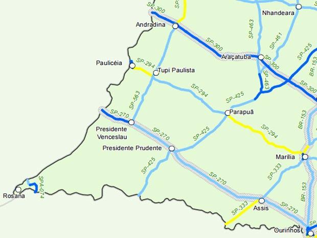 Mapa mostra a classificação das rodovias do Oeste Paulista (Foto: Reprodução)