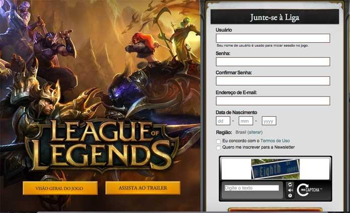 Cadastro de League of Legends para jogadores novos (Foto: Reprodução/Felipe Vinha)