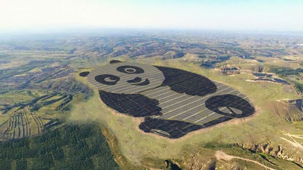 China, estação de energia solar tem formato de Panda (Foto: diviulgação)