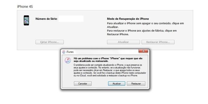 A mensagem do iPhone em modo de recuperação aparece no iTunes (Foto: Reprodução/Caio Bersot)