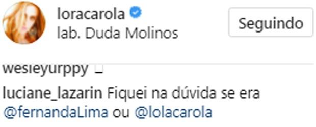 Carolina Dieckmann tem semelhança com Fernanda Lima aposta por seguidor (Foto: Reprodução/Instagram)