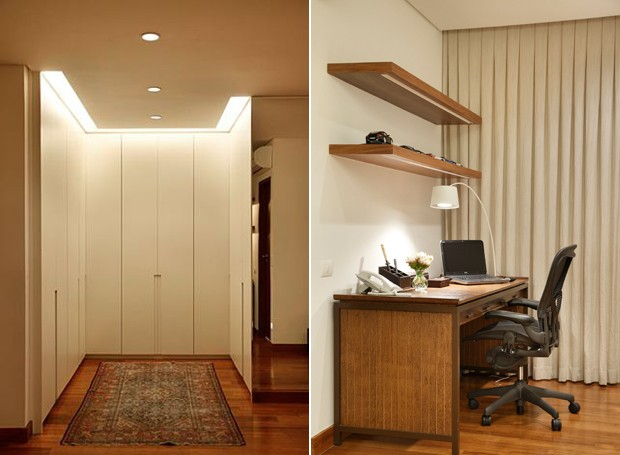 Cantinho do closet e do escritório, adaptados dentro do quarto do morador, que foi ampliado com a junção com outro dormitório do apê (Foto: MCA Estúdio)