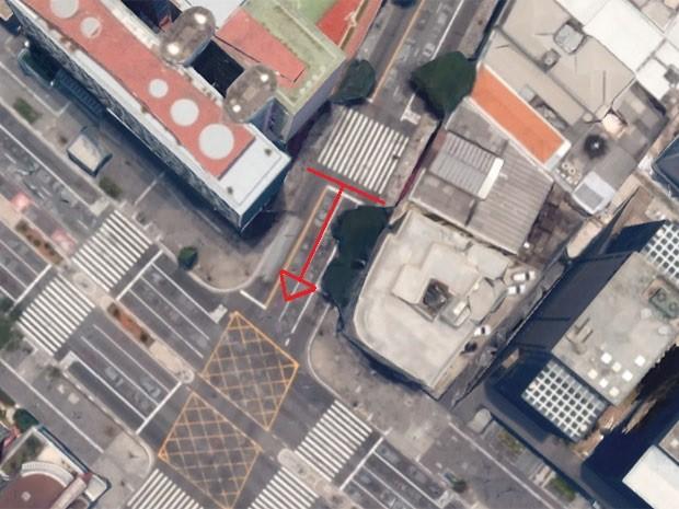 Faixa de pedestres será junto à Avenida Paulista (Foto: Reprodução/Google Maps)