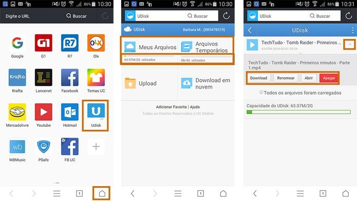 Acesse o UDisk do UC Browser e gerencie os arquivos de download (Foto: Reprodução/Barbara Mannara)