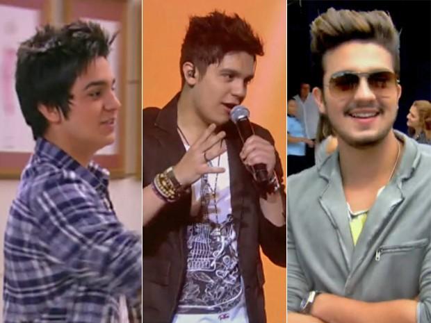 Três momentos de Luan Santana (Foto: Vídeo Show / TV Globo)