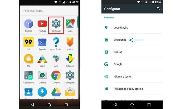 Abertura do menu Segurança do Android (Foto: Reprodução/ Raquel Freire) (Foto: Abertura do menu Segurança do Android (Foto: Reprodução/ Raquel Freire))
