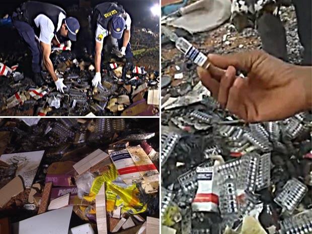 Medicamentos encontrados em lixão no P Sul, em Ceilândia (Foto: TV Globo/Reprodução)