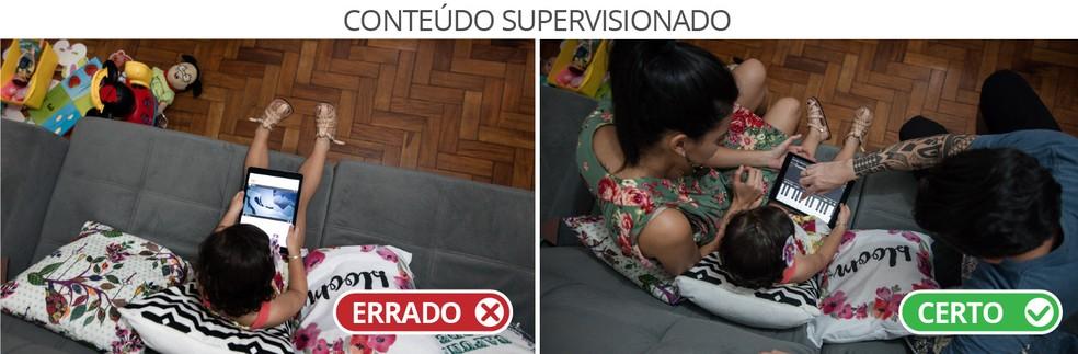 Conteúdo Supervisionado - Em cena dramatizada, pais mostram duas formas de lidar com a questão. (Foto: Marcelo Brandt/G1)