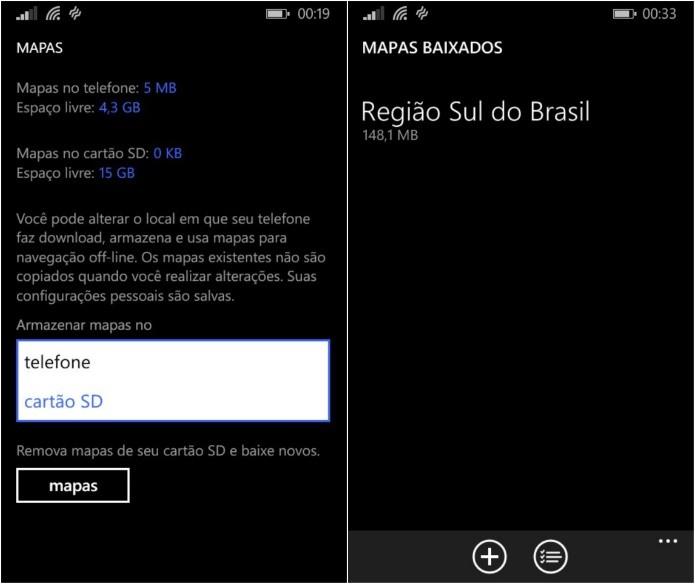 Configurando download dos mapas no cartão SD (Foto: Reprodução/Helito Bijora)