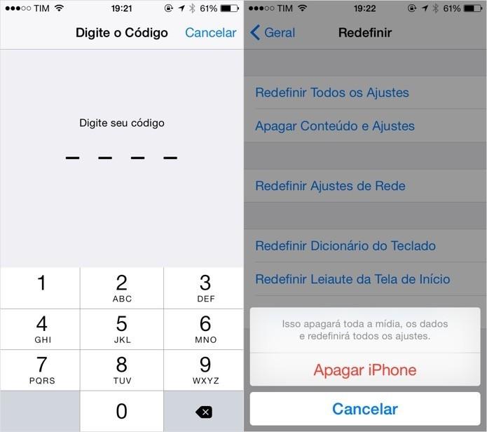 Redefinindo as configurações do iPhone (Foto: Reprodução/Helito Bijora)