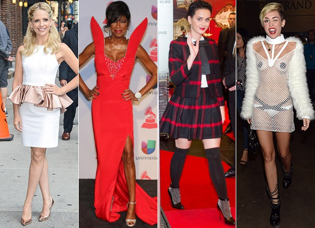 MODA - Exagero Fashion - Sarah Michelle Gellar, Natalie Cole, Katy Perry e Miley Cyrus (Foto: Agência Getty Images)